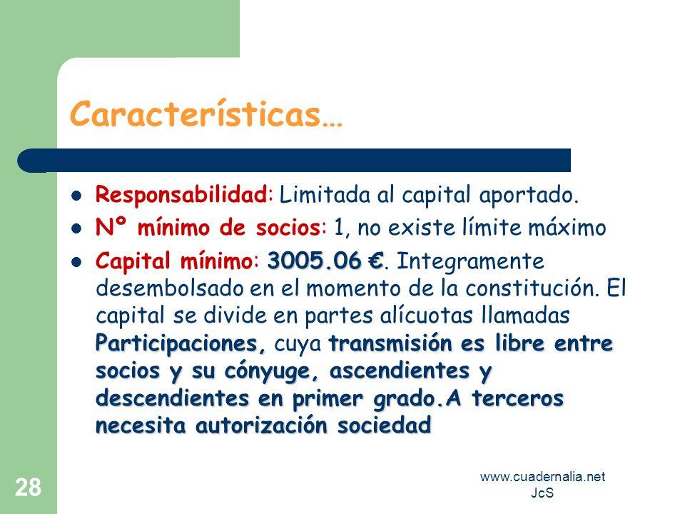 www.cuadernalia.net JcS 28 Características… Responsabilidad: Limitada al capital aportado. Nº mínimo de socios: 1, no existe límite máximo 3005.06 Par