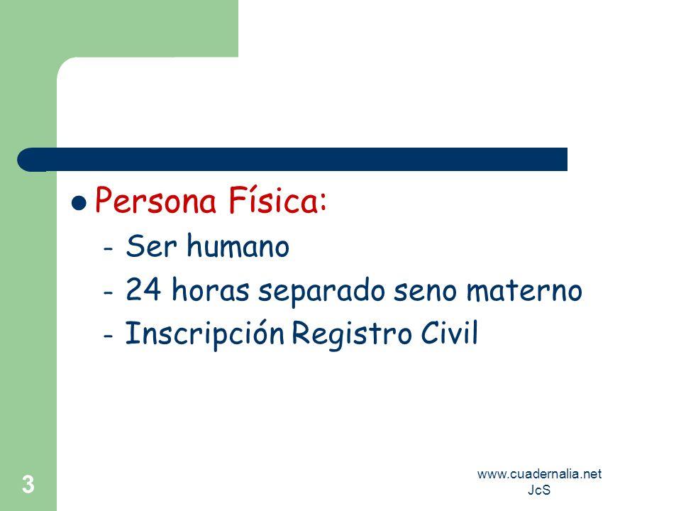 www.cuadernalia.net JcS 3 Persona Física: – Ser humano – 24 horas separado seno materno – Inscripción Registro Civil