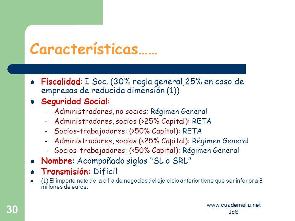 www.cuadernalia.net JcS 30 Características…… Fiscalidad: I Soc. (30% regla general,25% en caso de empresas de reducida dimensión (1)) Seguridad Social