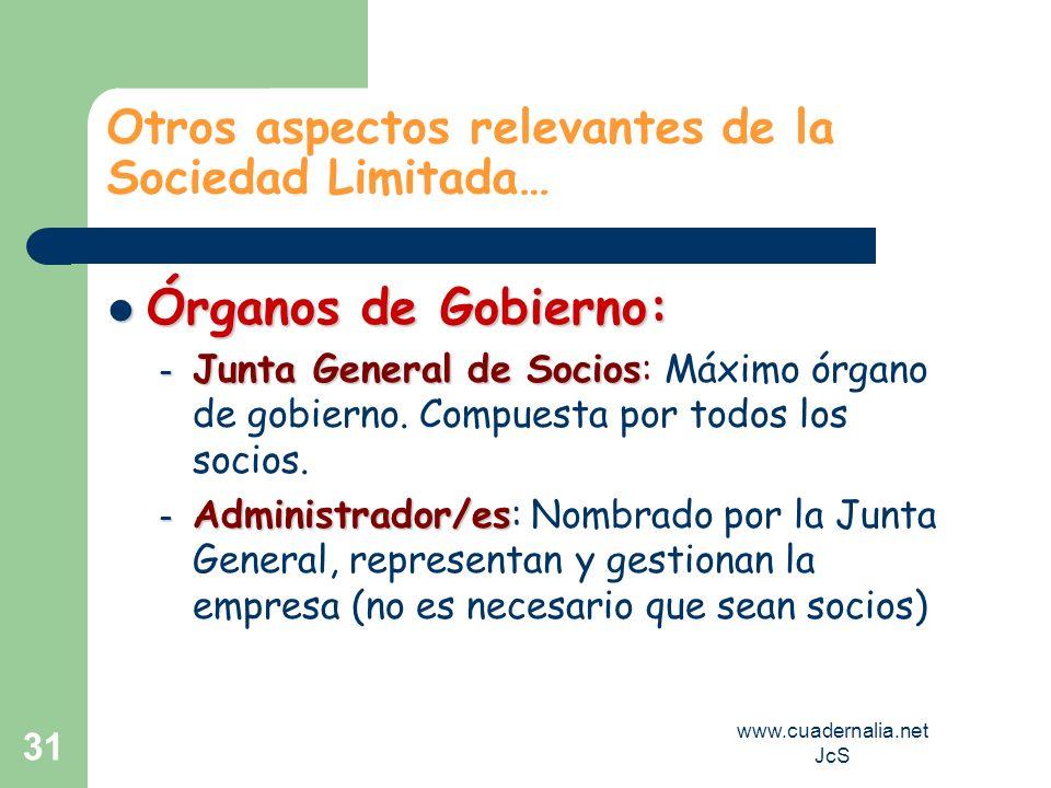 www.cuadernalia.net JcS 31 Otros aspectos relevantes de la Sociedad Limitada… Órganos de Gobierno: Órganos de Gobierno: – Junta General de Socios – Ju