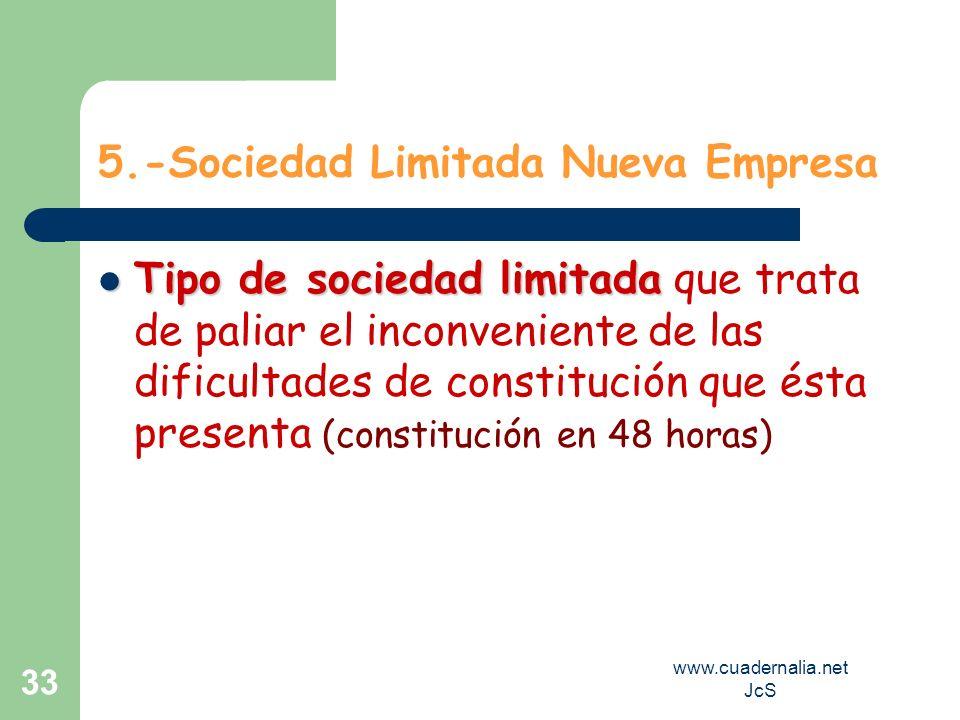 www.cuadernalia.net JcS 33 5.-Sociedad Limitada Nueva Empresa Tipo de sociedad limitada Tipo de sociedad limitada que trata de paliar el inconveniente