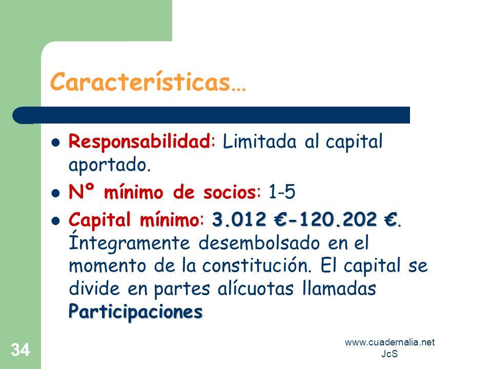 www.cuadernalia.net JcS 34 Características… Responsabilidad: Limitada al capital aportado. Nº mínimo de socios: 1-5 3.012 -120.202 Participaciones Cap