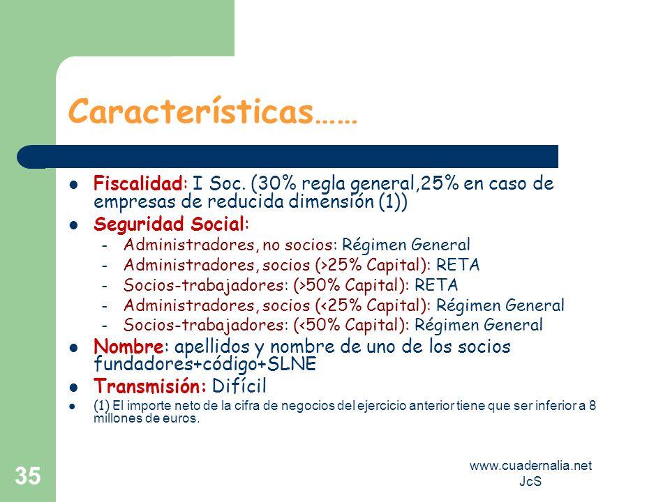www.cuadernalia.net JcS 35 Características…… Fiscalidad: I Soc. (30% regla general,25% en caso de empresas de reducida dimensión (1)) Seguridad Social