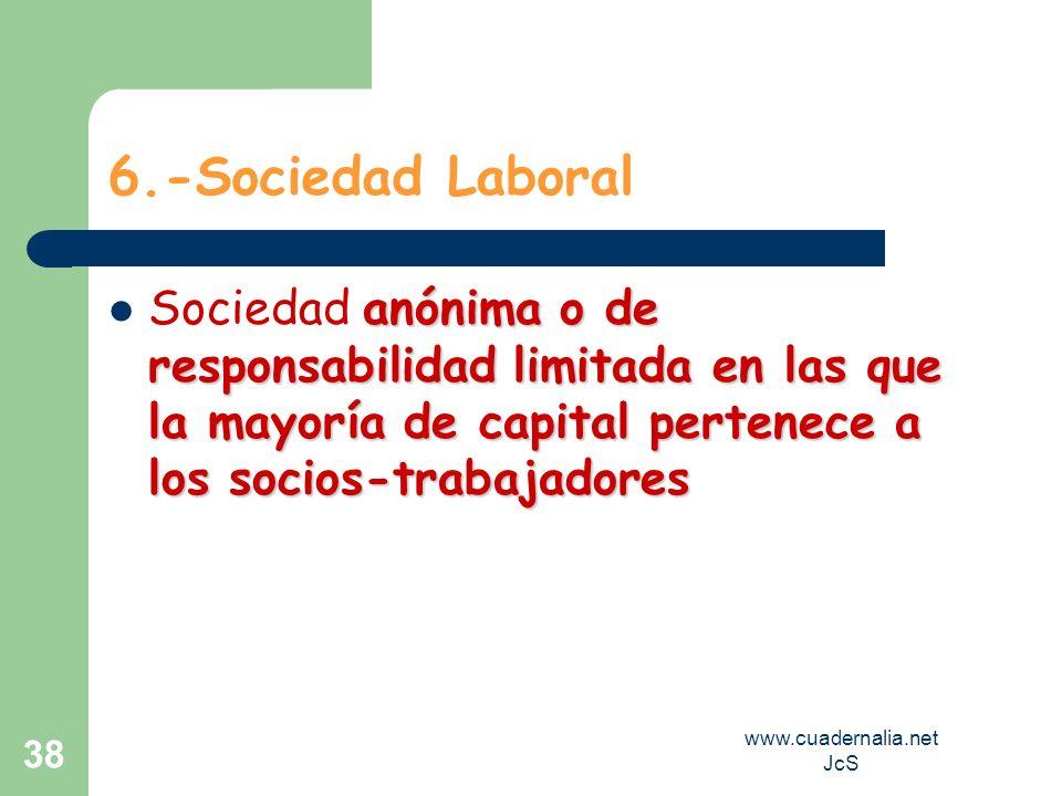 www.cuadernalia.net JcS 38 6.-Sociedad Laboral anónima o de responsabilidad limitada en las que la mayoría de capital pertenece a los socios-trabajado
