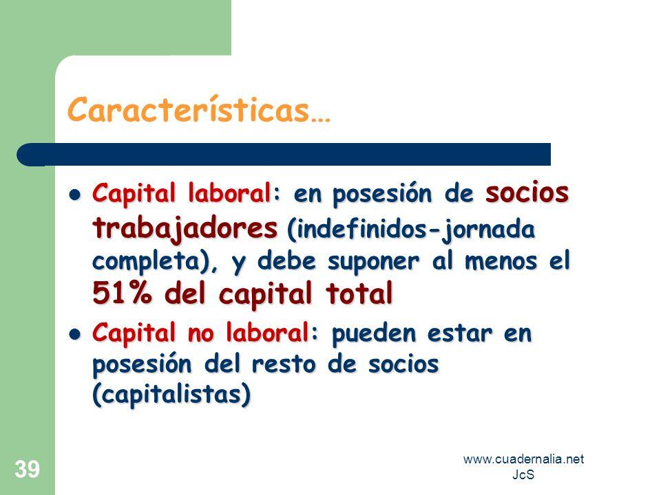 www.cuadernalia.net JcS 39 Características… Capital laboral: en posesión de socios trabajadores (indefinidos-jornada completa), y debe suponer al meno