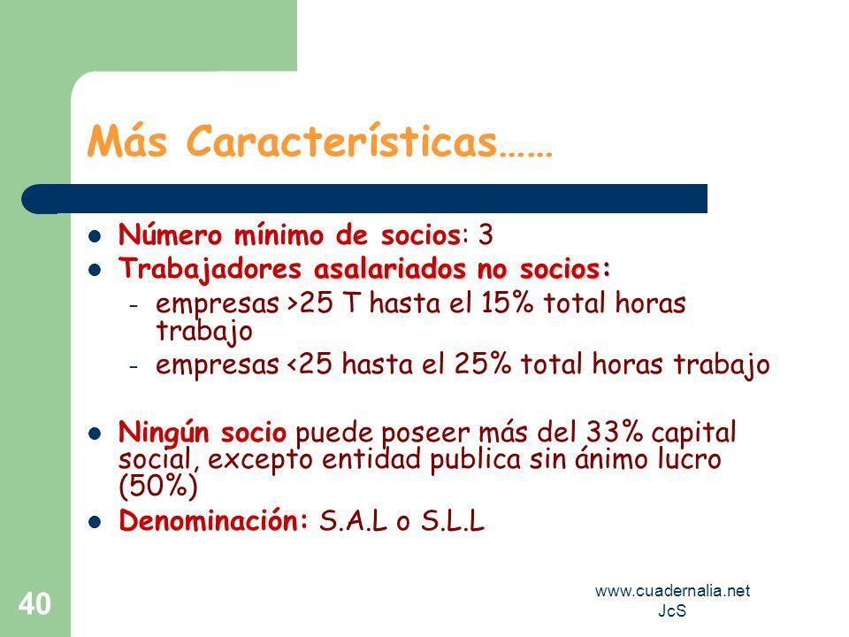 www.cuadernalia.net JcS 40 Más Características…… Número mínimo de socios: 3 asalariados no socios: Trabajadores asalariados no socios: – empresas >25
