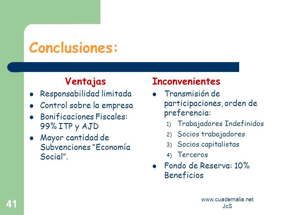 www.cuadernalia.net JcS 41 Conclusiones: Ventajas Responsabilidad limitada Control sobre la empresa Bonificaciones Fiscales: 99% ITP y AJD Mayor canti