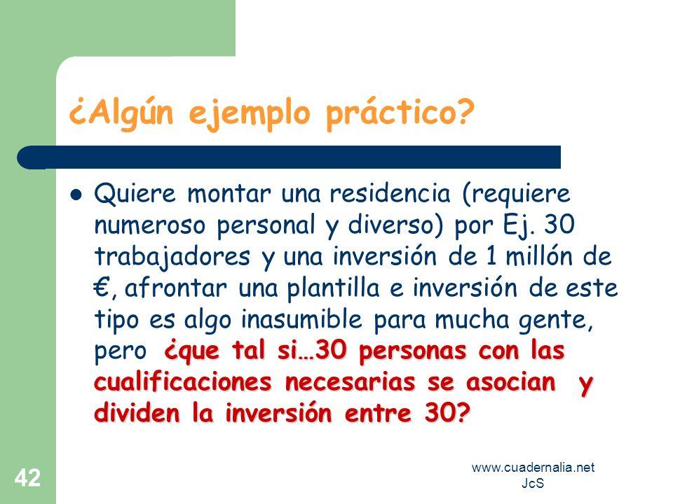 www.cuadernalia.net JcS 42 ¿Algún ejemplo práctico? ¿que tal si…30 personas con las cualificaciones necesarias se asocian y dividen la inversión entre