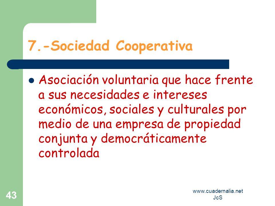 www.cuadernalia.net JcS 43 7.-Sociedad Cooperativa Asociación voluntaria que hace frente a sus necesidades e intereses económicos, sociales y cultural