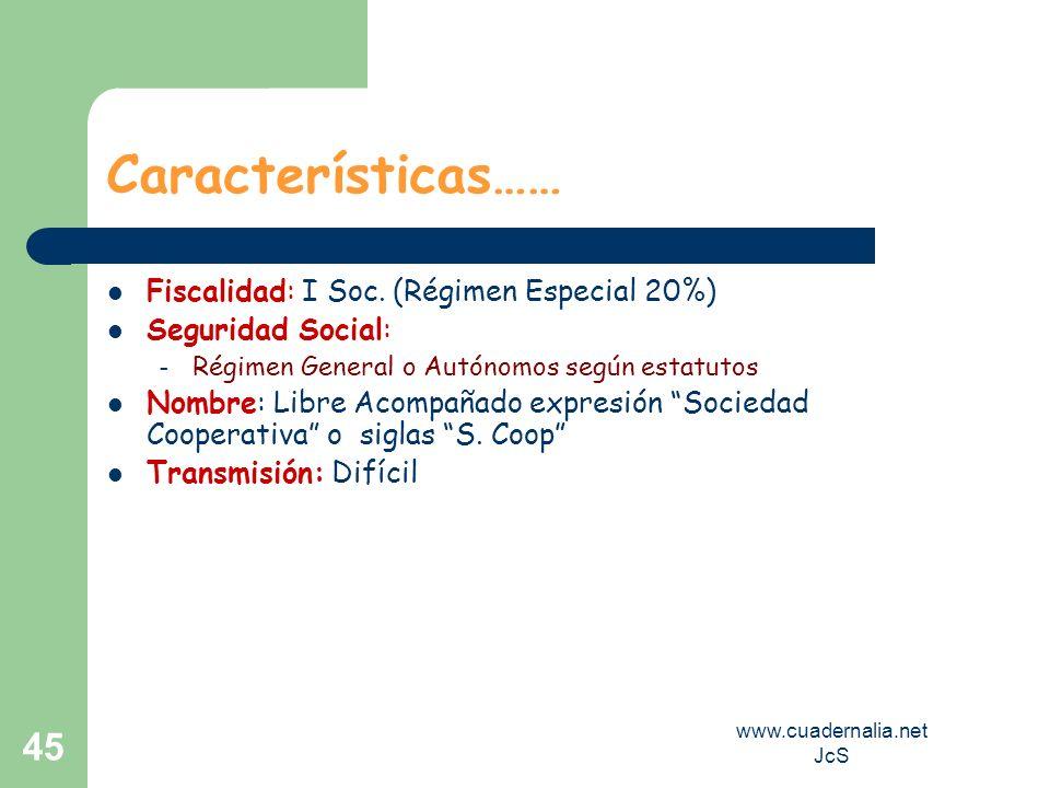 www.cuadernalia.net JcS 45 Características…… Fiscalidad: I Soc. (Régimen Especial 20%) Seguridad Social: – Régimen General o Autónomos según estatutos