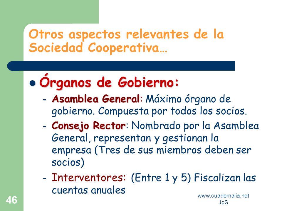 www.cuadernalia.net JcS 46 Otros aspectos relevantes de la Sociedad Cooperativa… Órganos de Gobierno: Órganos de Gobierno: – Asamblea General – Asambl