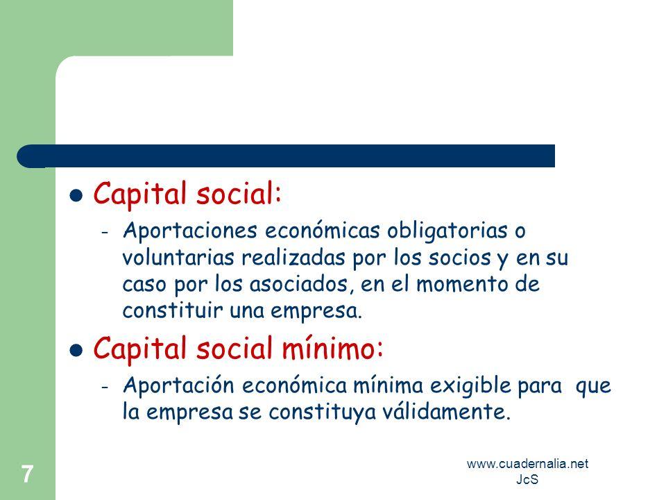 www.cuadernalia.net JcS 7 Capital social: – Aportaciones económicas obligatorias o voluntarias realizadas por los socios y en su caso por los asociado