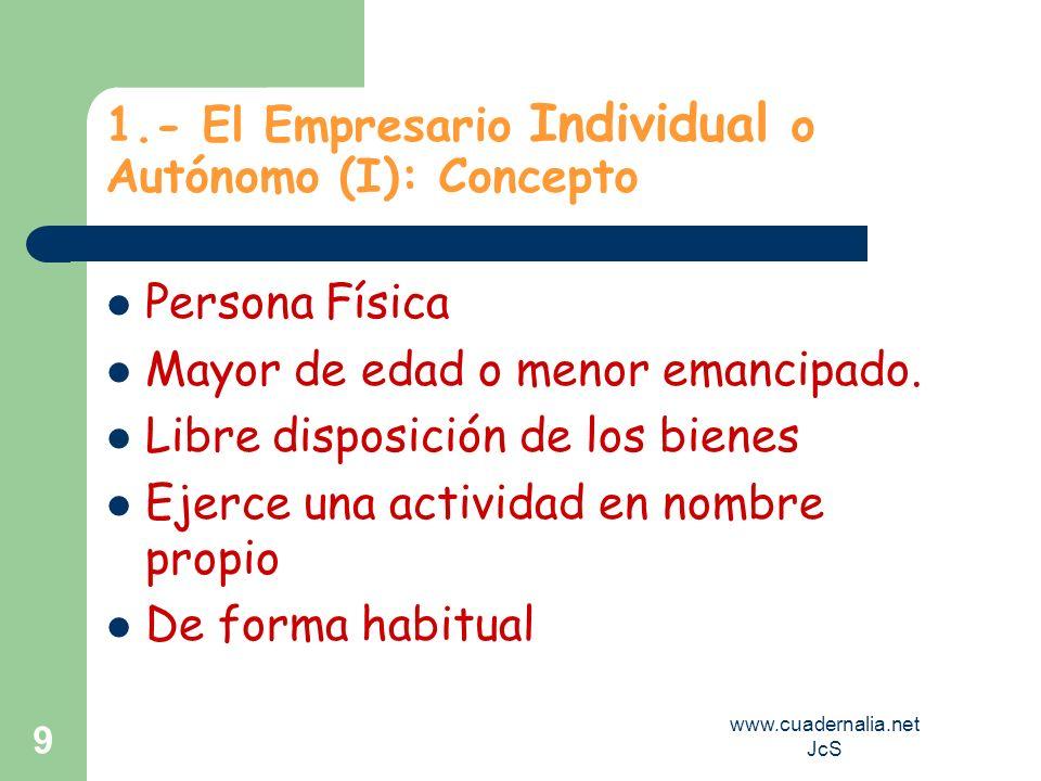 www.cuadernalia.net JcS 9 1.- El Empresario Individual o Autónomo (I): Concepto Persona Física Mayor de edad o menor emancipado. Libre disposición de