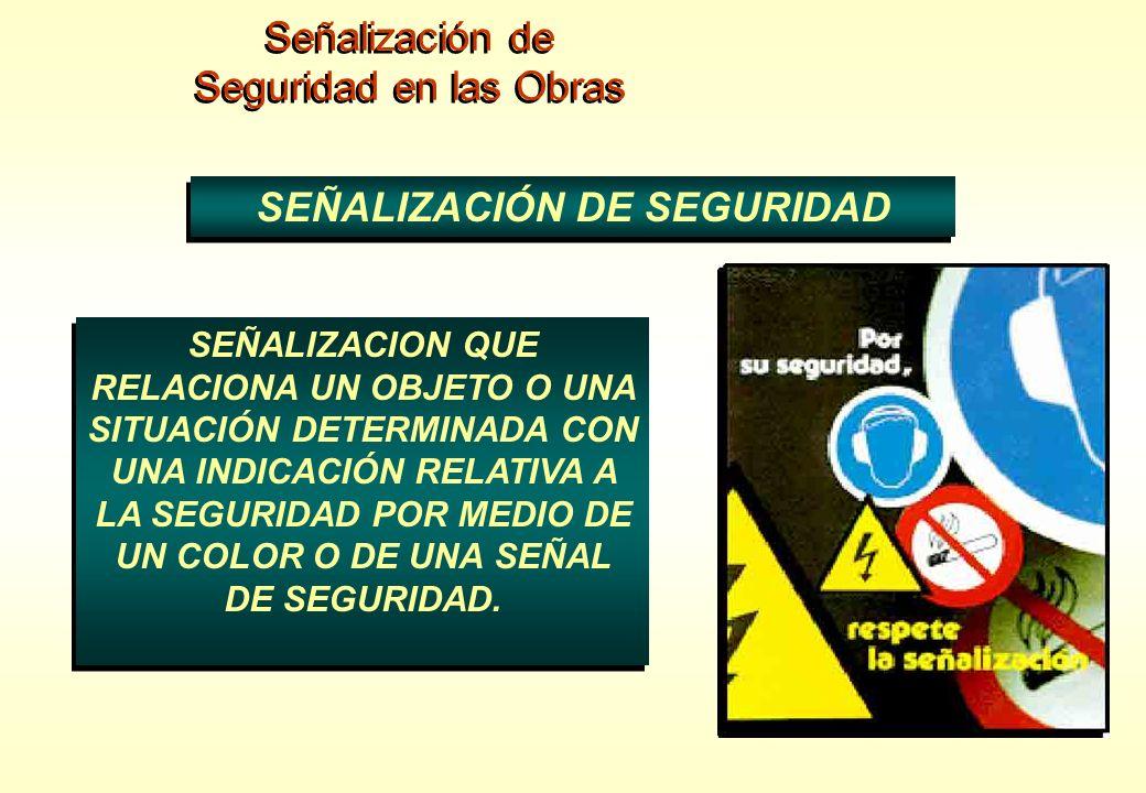 Señalización de Seguridad en las Obras Señalización de Seguridad en las Obras SEÑALIZACIÓN DE SEGURIDAD SEÑALIZACION QUE RELACIONA UN OBJETO O UNA SIT