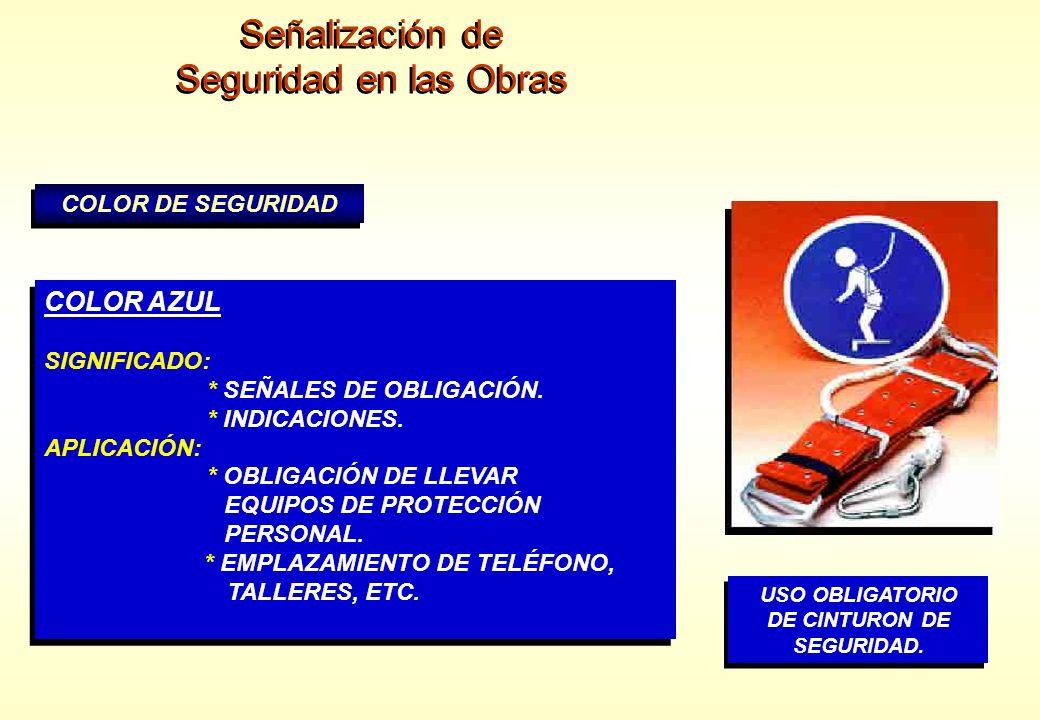 Señalización de Seguridad en las Obras Señalización de Seguridad en las Obras COLOR DE SEGURIDAD COLOR AZUL SIGNIFICADO: * SEÑALES DE OBLIGACIÓN. * IN
