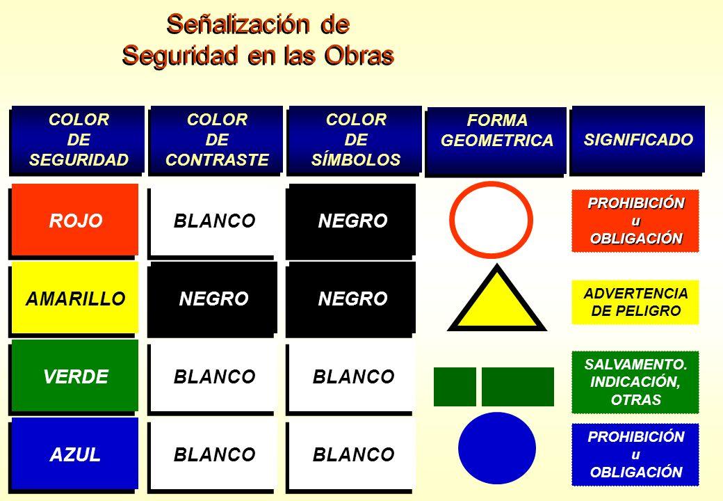 Señalización de Seguridad en las Obras Señalización de Seguridad en las Obras COLOR DE SEGURIDAD COLOR DE SEGURIDAD COLOR DE CONTRASTE COLOR DE CONTRA