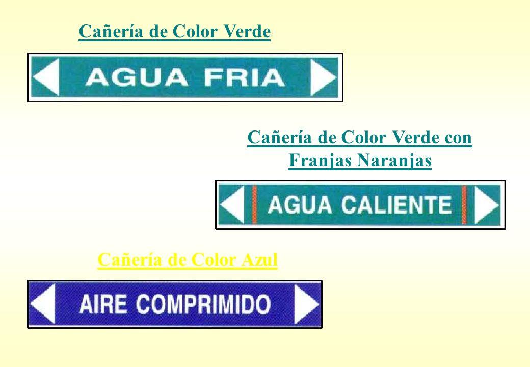 Cañería de Color Verde con Franjas Naranjas Cañería de Color Azul Cañería de Color Verde