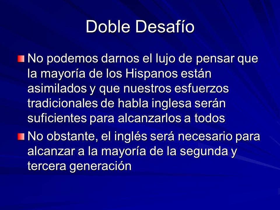 Doble Desafío No podemos darnos el lujo de pensar que la mayoría de los Hispanos están asimilados y que nuestros esfuerzos tradicionales de habla ingl