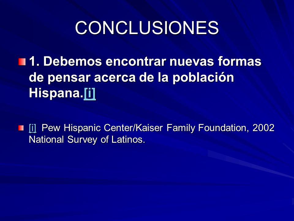 CONCLUSIONES 1. Debemos encontrar nuevas formas de pensar acerca de la población Hispana.[i] [i] [i] Pew Hispanic Center/Kaiser Family Foundation, 200
