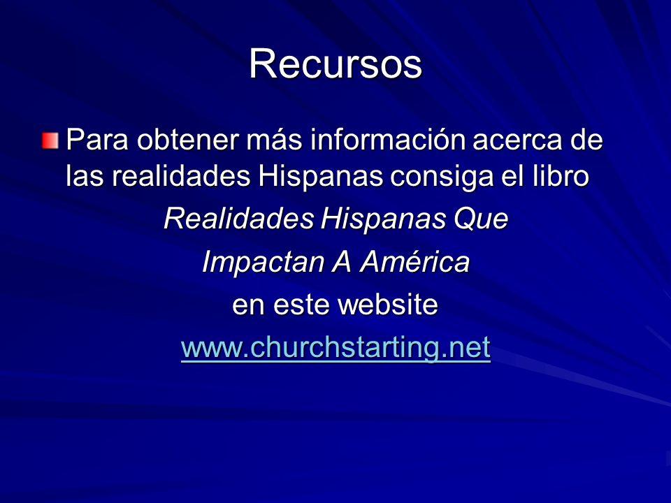 Recursos Para obtener más información acerca de las realidades Hispanas consiga el libro Realidades Hispanas Que Impactan A América en este website ww