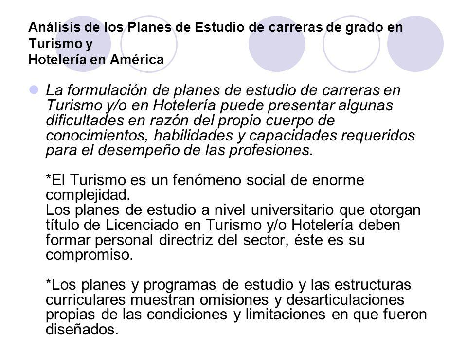 Análisis de los Planes de Estudio de carreras de grado en Turismo y Hotelería en América La formulación de planes de estudio de carreras en Turismo y/