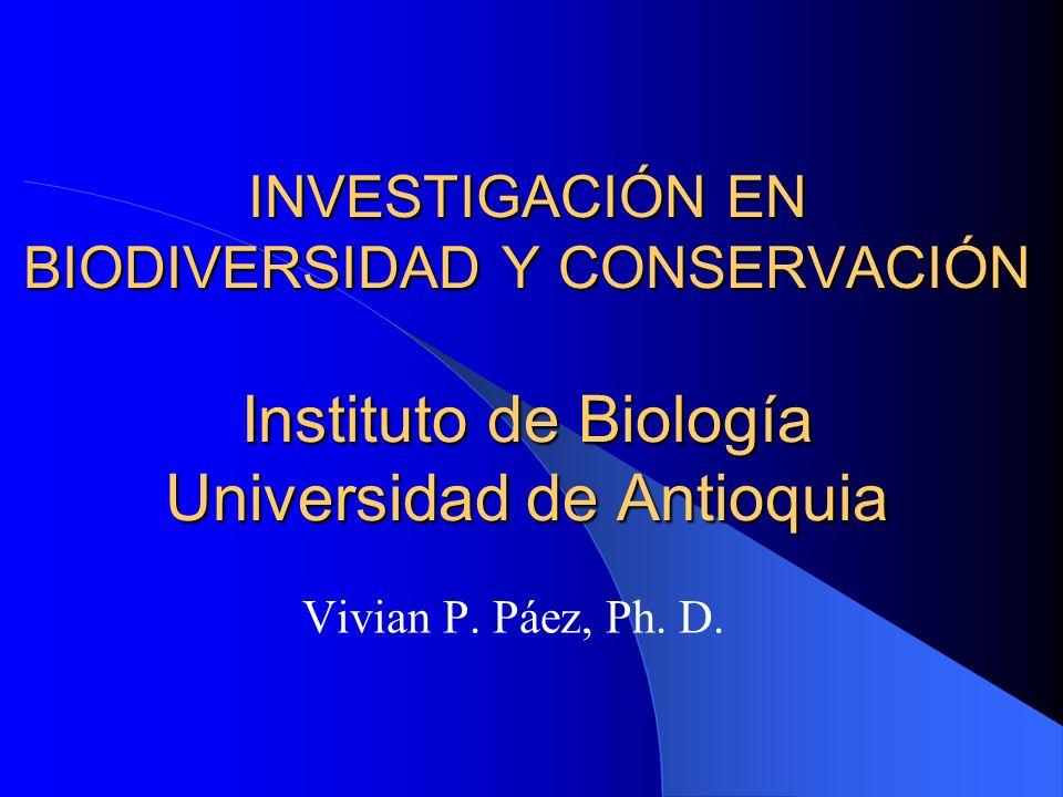 INVESTIGACIÓN EN BIODIVERSIDAD Y CONSERVACIÓN Instituto de Biología Universidad de Antioquia Vivian P. Páez, Ph. D.