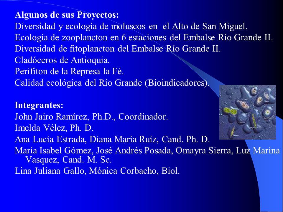 Algunos de sus Proyectos: Diversidad y ecología de moluscos en el Alto de San Miguel. Ecología de zooplancton en 6 estaciones del Embalse Río Grande I