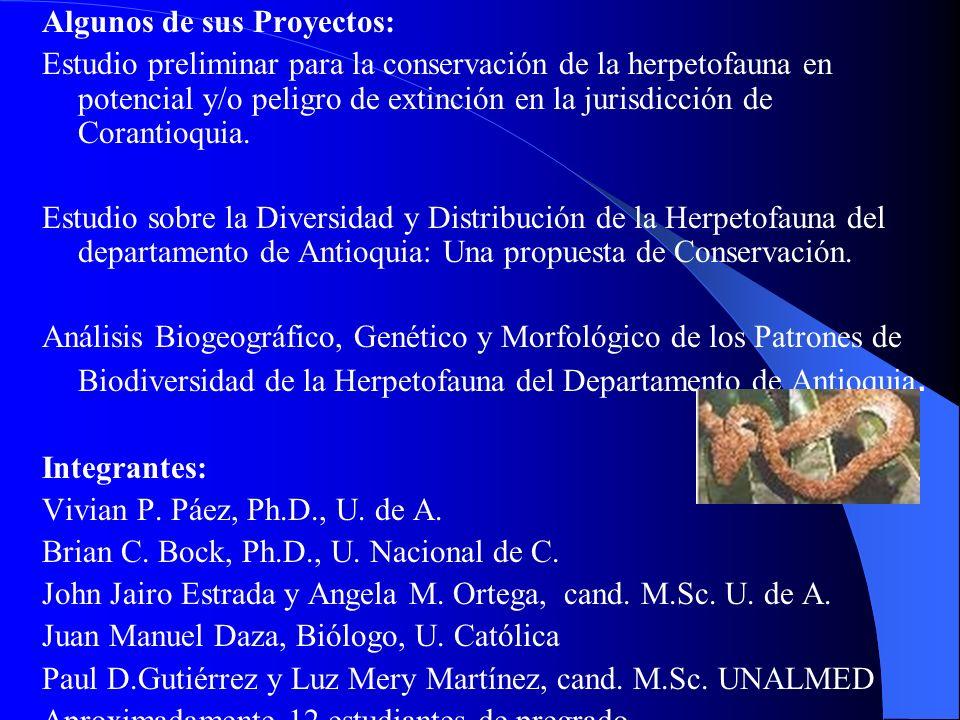 Algunos de sus Proyectos: Estudio preliminar para la conservación de la herpetofauna en potencial y/o peligro de extinción en la jurisdicción de Coran