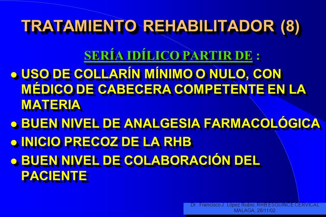 TRATAMIENTO REHABILITADOR (7) PROGRAMA DE CONTINUACIÓN l SE AÑADIRÁN SEGÚN TOLERANCIA –Terapias manuales según costumbre y manejo de las mismas por mé