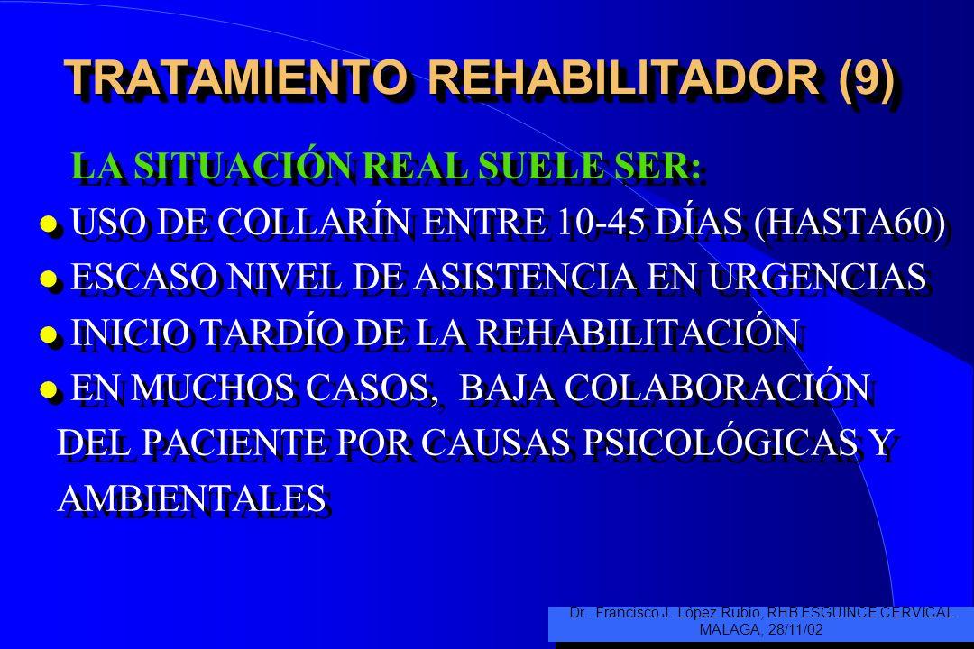 TRATAMIENTO REHABILITADOR (8) SERÍA IDÍLICO PARTIR DE : l USO DE COLLARÍN MÍNIMO O NULO, CON MÉDICO DE CABECERA COMPETENTE EN LA MATERIA l BUEN NIVEL