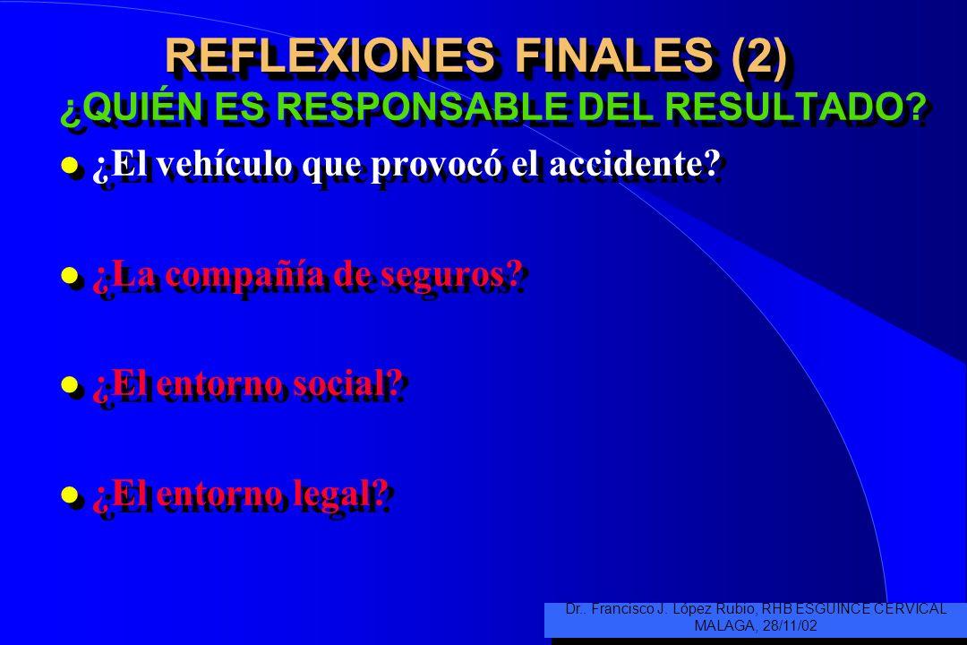 REFLEXIONES FINALES (1) ¿QUIÉN ES RESPONSABLE DEL RESULTADO? l ¿El médico de urgencias, el del collarín hasta que no le duela, apoyado por el m. de ca