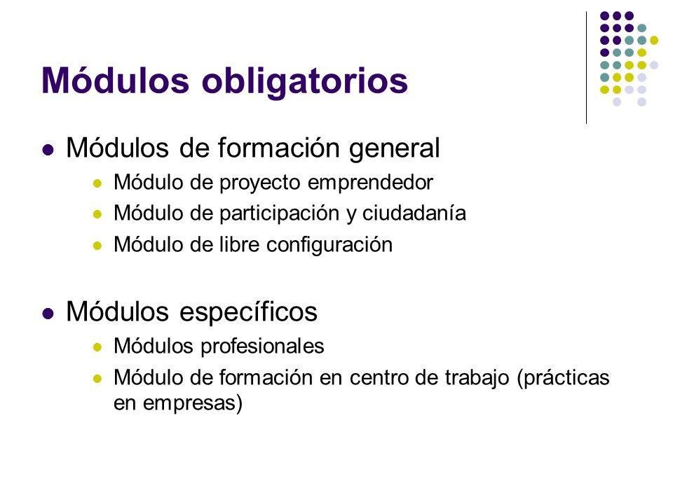 Módulos voluntarios Módulo de comunicación incluye aspectos de las materias de Lengua Castellana y Literatura y primera Lengua Extranjera Módulo social incluye aspectos de las materias de Ciencias Sociales, Geografía e Historia, educación para la ciudadanía.
