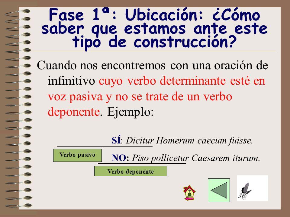 Vamos a estudiar la construcción personal e impersonal de infinitivo a través de seis fases: Fase 1ª: Ubicación Fase 2ª: Reconocimiento Fase 3ª: Verbo