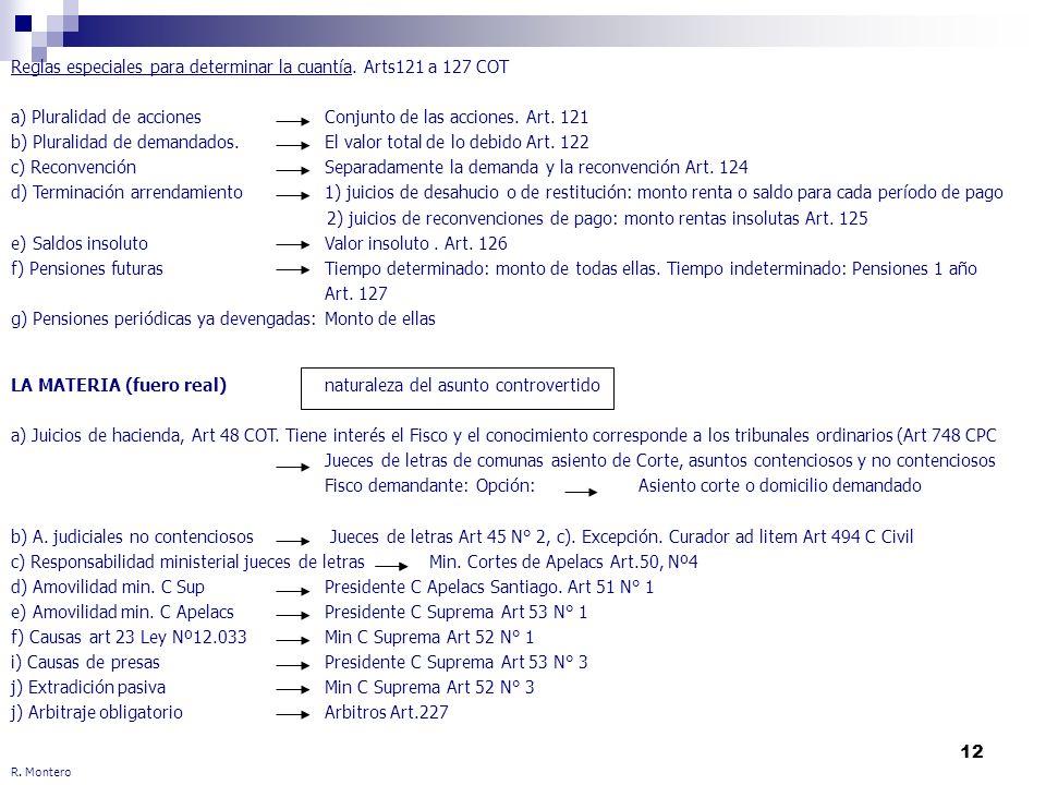 12 R. Montero Reglas especiales para determinar la cuantía. Arts121 a 127 COT a) Pluralidad de acciones Conjunto de las acciones. Art. 121 b) Pluralid