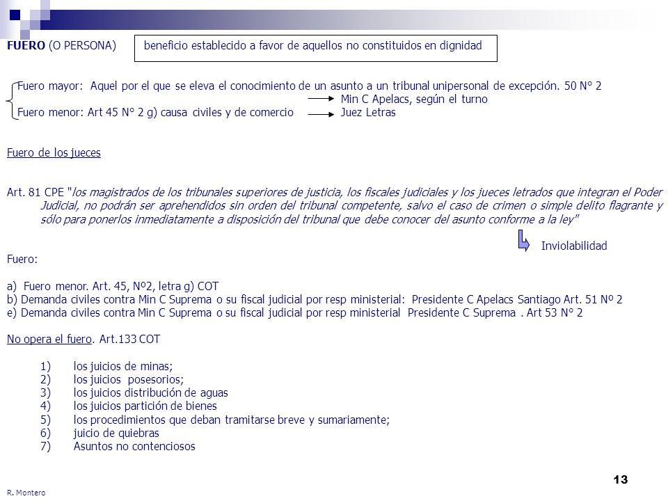 13 R. Montero FUERO (O PERSONA) beneficio establecido a favor de aquellos no constituidos en dignidad Fuero mayor: Aquel por el que se eleva el conoci