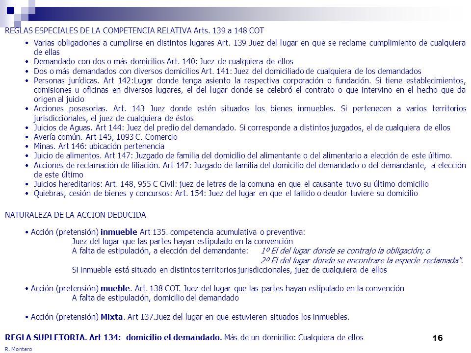 16 R. Montero REGLAS ESPECIALES DE LA COMPETENCIA RELATIVA Arts. 139 a 148 COT NATURALEZA DE LA ACCION DEDUCIDA REGLA SUPLETORIA. Art 134: domicilio e