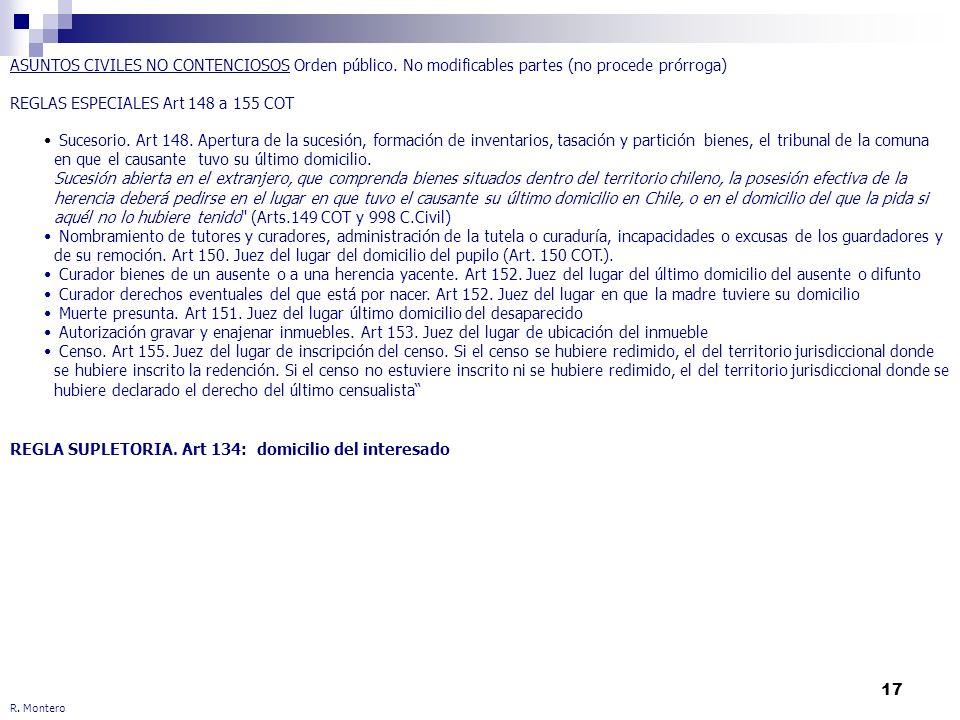17 R. Montero ASUNTOS CIVILES NO CONTENCIOSOS Orden público. No modificables partes (no procede prórroga) REGLAS ESPECIALES Art 148 a 155 COT REGLA SU