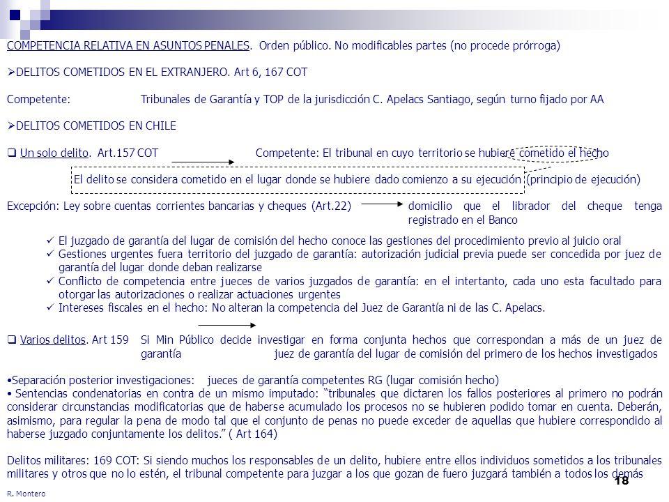 18 R. Montero COMPETENCIA RELATIVA EN ASUNTOS PENALES. Orden público. No modificables partes (no procede prórroga) DELITOS COMETIDOS EN EL EXTRANJERO.