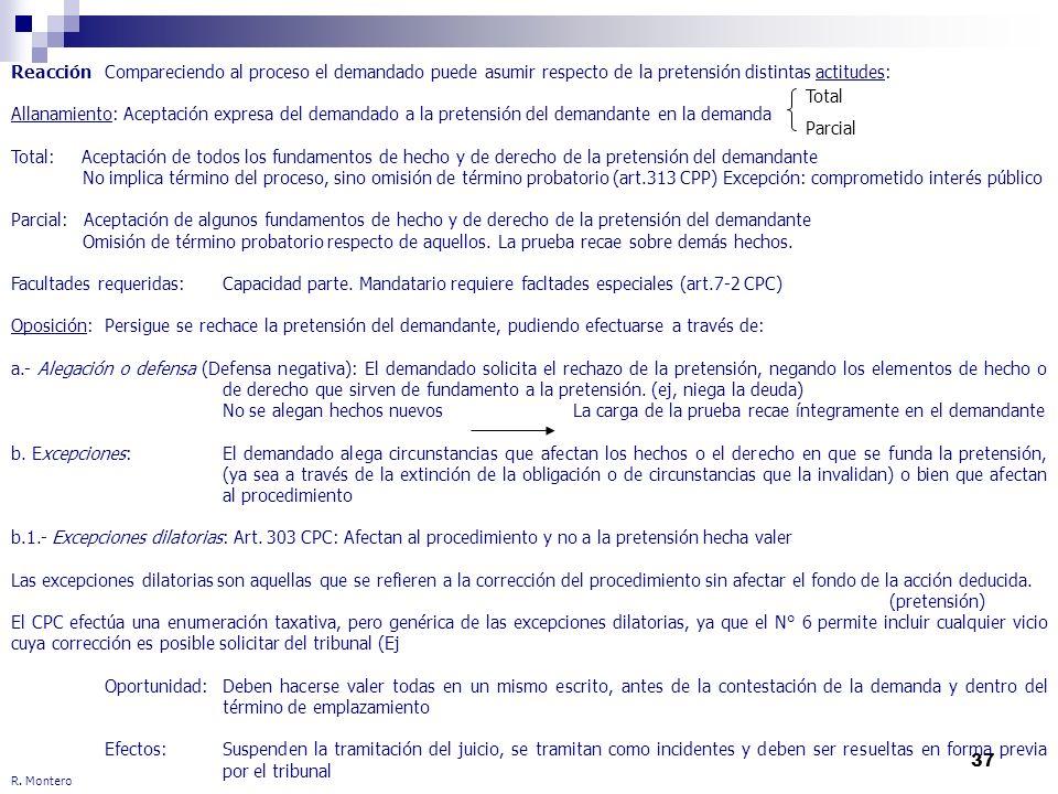 37 R. Montero ReacciónCompareciendo al proceso el demandado puede asumir respecto de la pretensión distintas actitudes: Allanamiento: Aceptación expre
