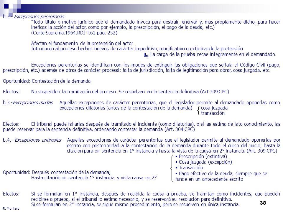 38 R. Montero b.2.- Excepciones perentorias Todo título o motivo jurídico que el demandado invoca para destruir, enervar y, más propiamente dicho, par