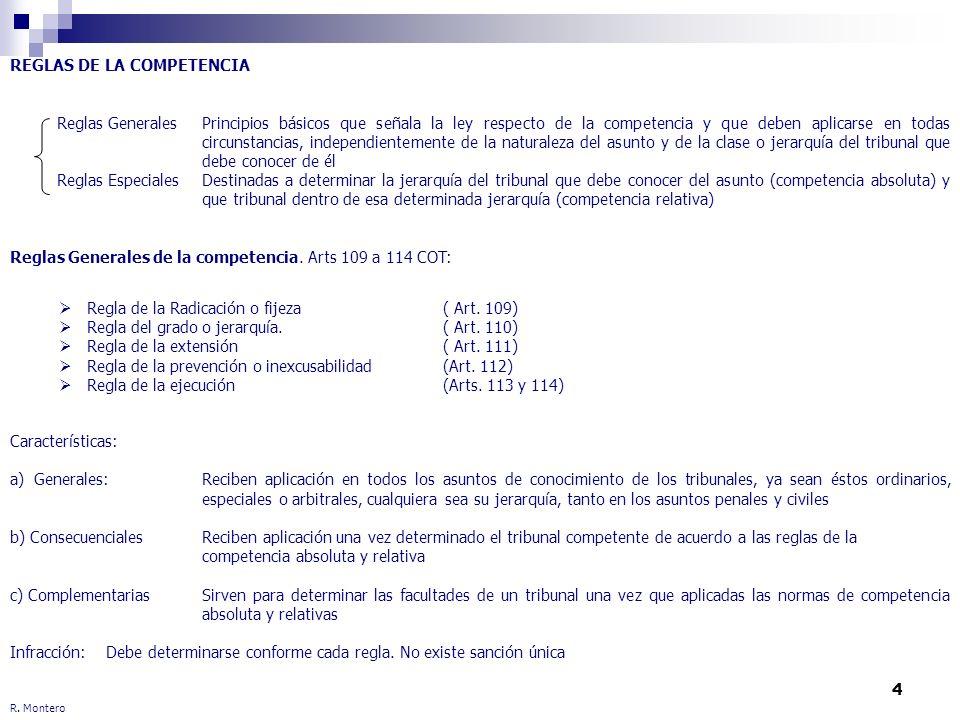 4 R. Montero REGLAS DE LA COMPETENCIA Reglas Generales Principios básicos que señala la ley respecto de la competencia y que deben aplicarse en todas