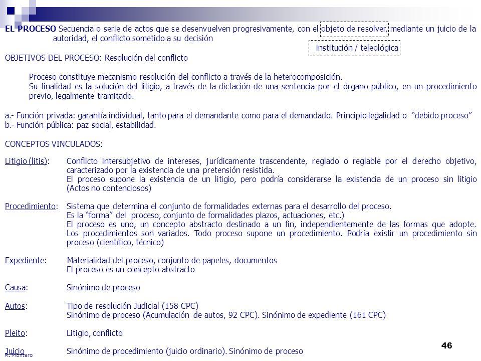 46 R. Montero EL PROCESO Secuencia o serie de actos que se desenvuelven progresivamente, con el objeto de resolver, mediante un juicio de la autoridad