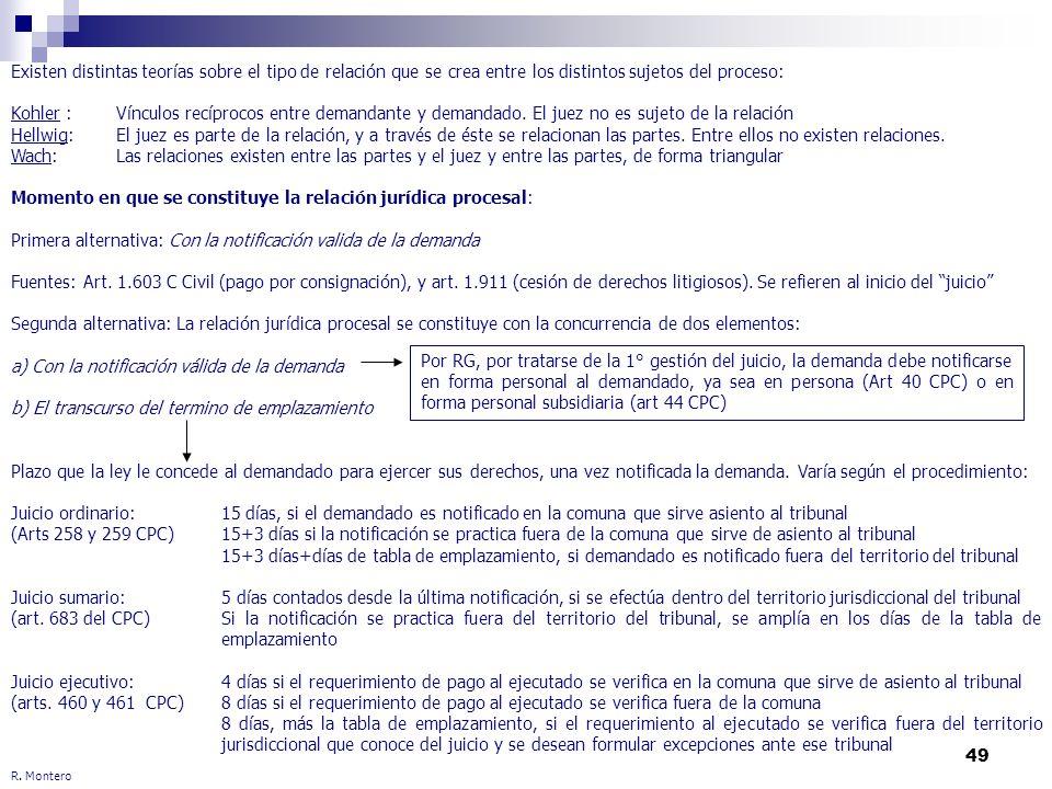 49 R. Montero Existen distintas teorías sobre el tipo de relación que se crea entre los distintos sujetos del proceso: Kohler : Vínculos recíprocos en