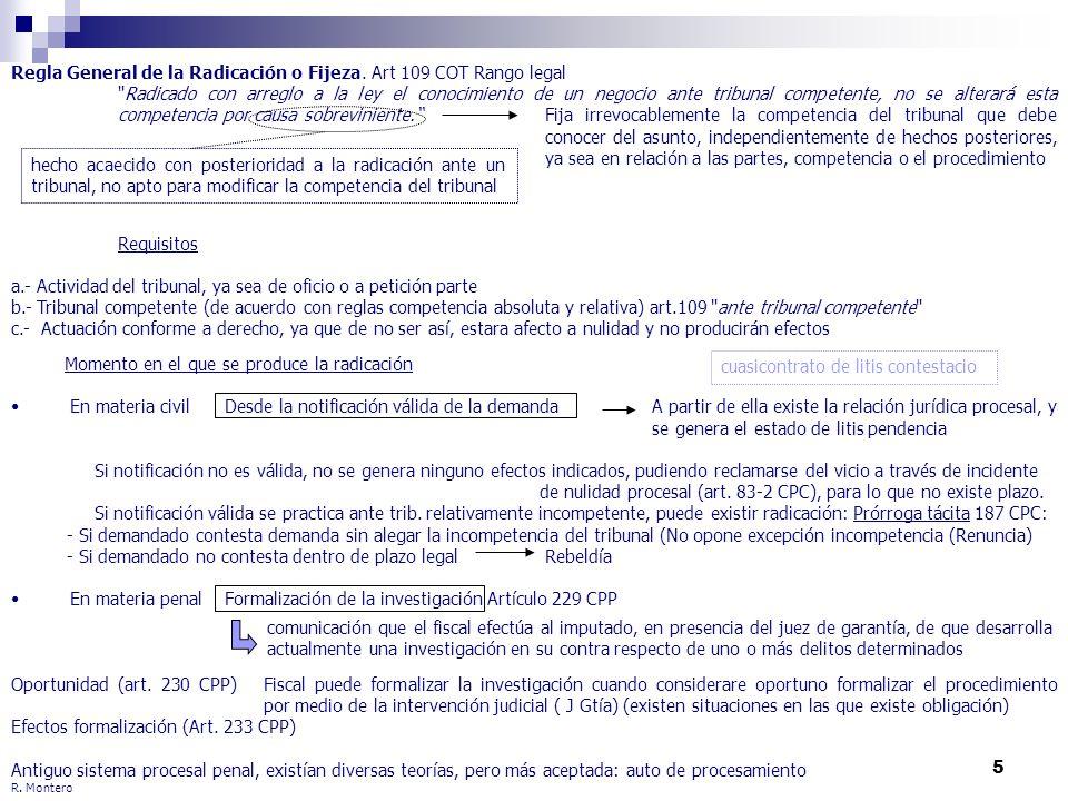 5 R. Montero Regla General de la Radicación o Fijeza. Art 109 COT Rango legal