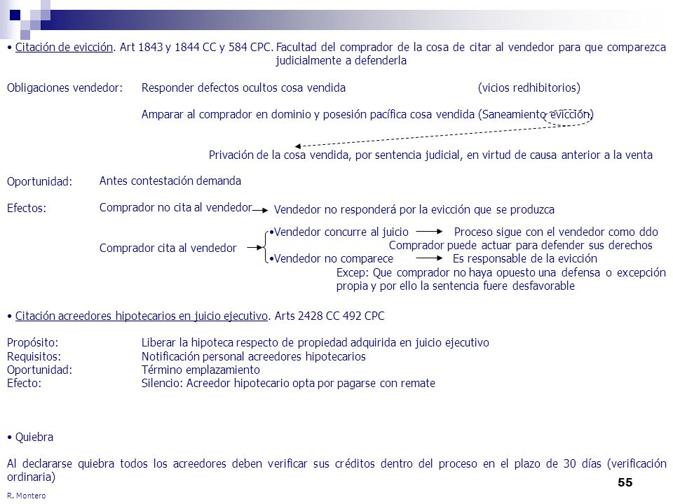 55 R. Montero Citación de evicción. Art 1843 y 1844 CC y 584 CPC.Facultad del comprador de la cosa de citar al vendedor para que comparezca judicialme