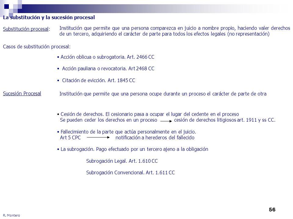 56 R. Montero La substitución y la sucesión procesal Substitución procesal: Casos de substitución procesal: Sucesión Procesal Institución que permite