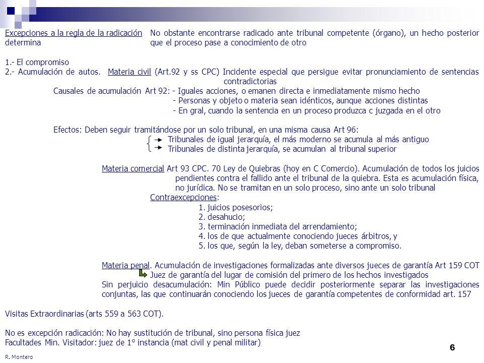 6 R. Montero Excepciones a la regla de la radicaciónNo obstante encontrarse radicado ante tribunal competente (órgano), un hecho posterior determina q