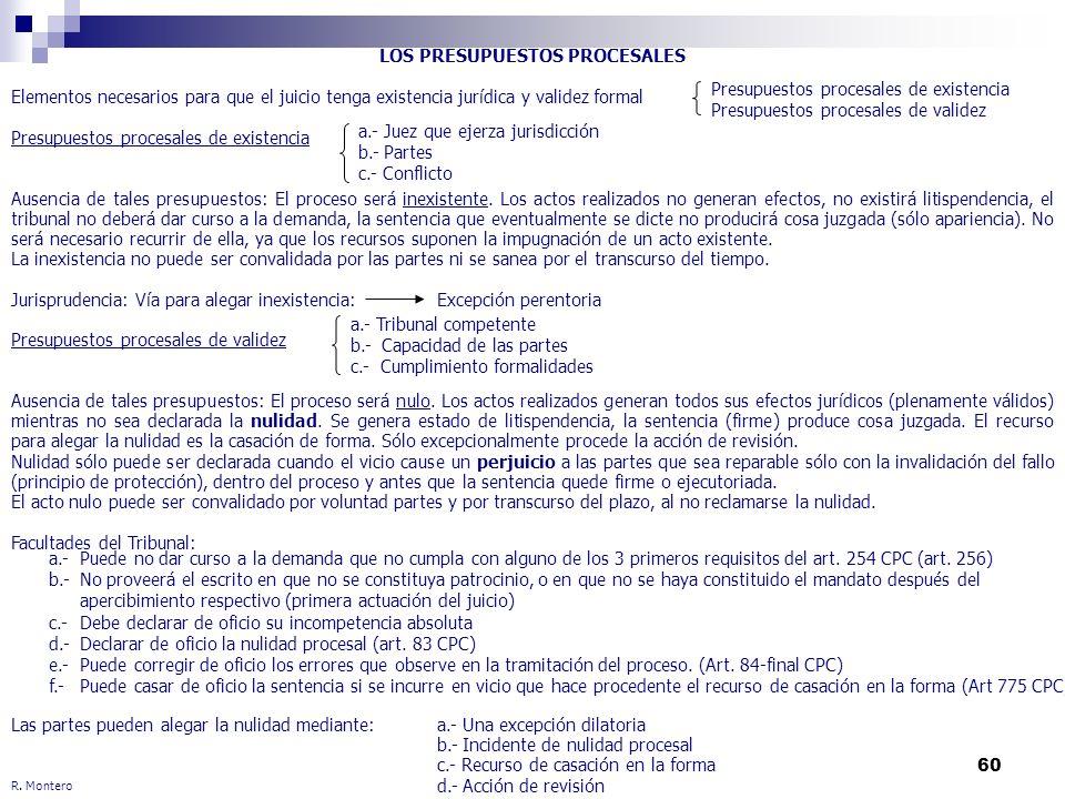 60 R. Montero LOS PRESUPUESTOS PROCESALES Elementos necesarios para que el juicio tenga existencia jurídica y validez formal Presupuestos procesales d