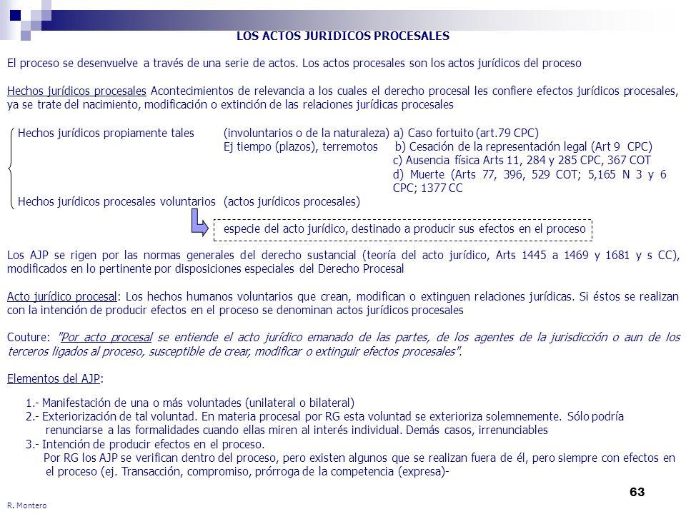 63 R. Montero LOS ACTOS JURIDICOS PROCESALES El proceso se desenvuelve a través de una serie de actos. Los actos procesales son los actos jurídicos de