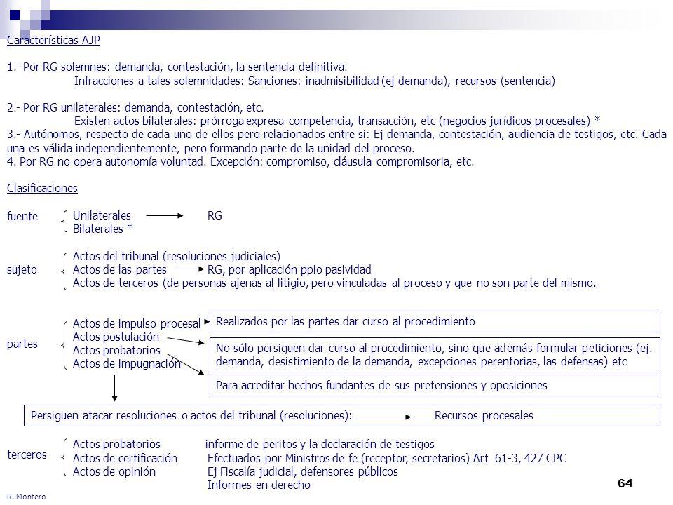 64 R. Montero Características AJP 1.- Por RG solemnes: demanda, contestación, la sentencia definitiva. Infracciones a tales solemnidades: Sanciones: i